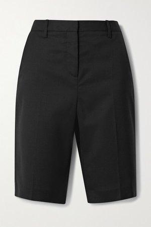 Montreal Wool-blend Twill Shorts - Black