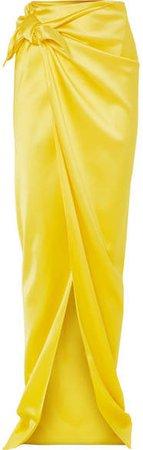 Satin Wrap Maxi Skirt - Yellow