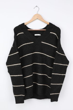 LUSH Black Striped Sweater - Oversized Sweater - V-Neck Sweater