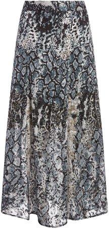 Athena Animal Print Midi Skirt