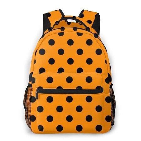 orange backpack dots