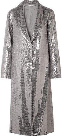 Alice Olivia - Angela Sequined Crepe Coat - Silver
