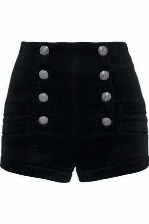 Balmain Black High Waisted Shorts