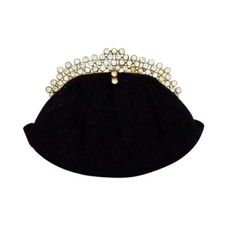 1950s Josef black caviar beaded rhinestone jewel frame evening bag handbag For Sale at 1stdibs