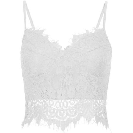 White Lace Tank Crop Top
