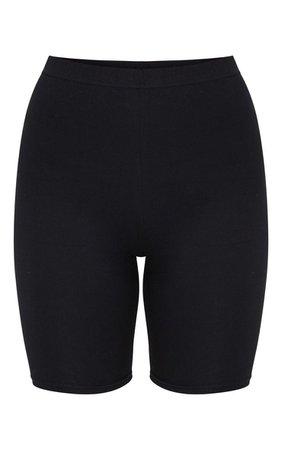 Black Cotton Stretch Cycle Short   Shorts   PrettyLittleThing