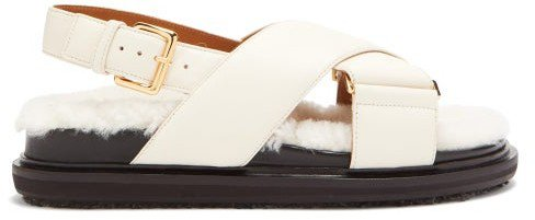 Shearling-footbed Leather Sandals - White