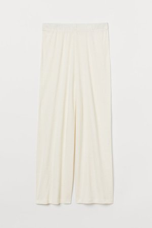 Wide-cut Jersey Pants - White