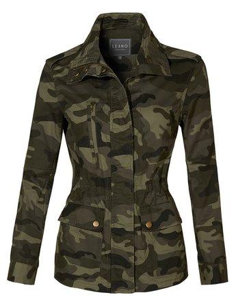 LE3NO Womens Long Sleeve Drawstring Waist Camo Military Anorak Jacket with Pockets | LE3NO