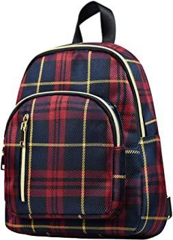 Amazon.com: YANAIER Women Mini Backpack Purse Waterproof Nylon Fashion College Bag Daypack Red Plaid: Clothing