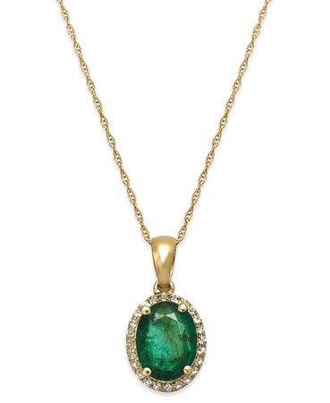 Macy's 10k Gold Emerald and White Sapphire Oval Pendant Necklace