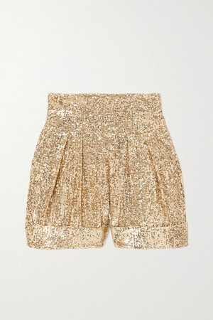 Pleated Sequined Crepe Shorts - Gold