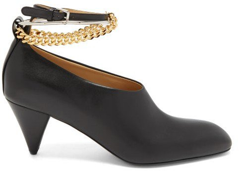Anklet-chain Leather Cone-heel Pumps - Black