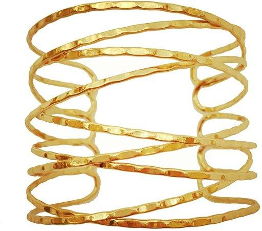 """Amazon.com: OCTCHOCO Simple Gold Swirl Arm Cuff Fashion Armlet Armband Bangle Bracelet 2.8"""" Adjustable(Gold): Clothing"""