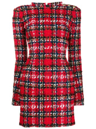 Balmain Tartan Tweed Mini Dress - Farfetch