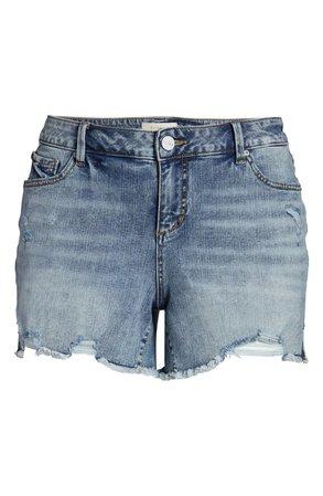 SLINK Jeans Easy Fit Distressed Frayed Hem Denim Shorts (Flo) (Plus Size) | Nordstrom