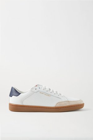 Court Classic Logo-print Suede-trimmed Perforated Leather Sneakers - White