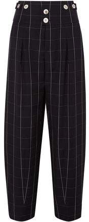 Checked Wool Wide-leg Pants