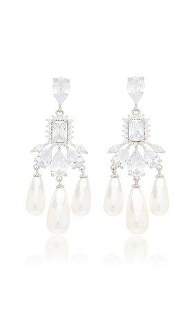 Buckingham Silver-Plated Brass Pearl and Crystal Earrings by FALLON | Moda Operandi