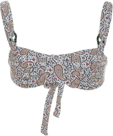 Palm Grace Ruched Printed Bikini Top