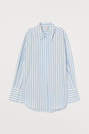 Oversized Poplin Shirt - Light blue/white striped - | H&M US