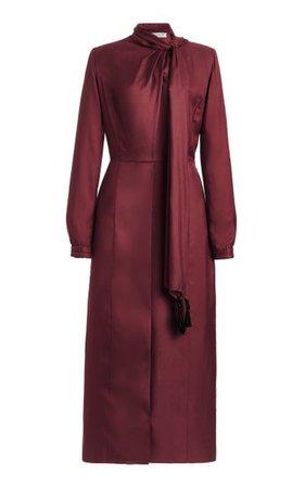 Paros Tie-Neck Silk-Twill Midi Dress By Gabriela Hearst   Moda Operandi