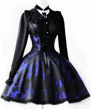 Blue flowers Victorian dress