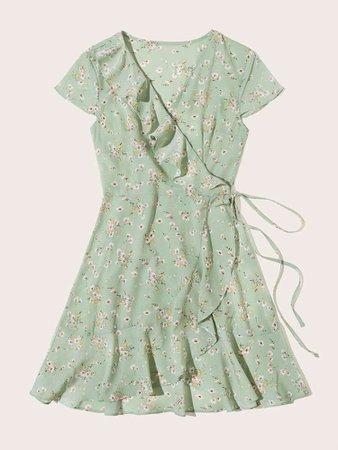 Ditsy Floral Ruffle Wrap Tea Dress | ROMWE