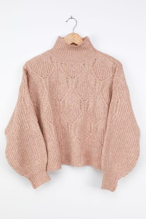 Blush Sweater - Cute Turtleneck Sweater - Pointelle Knit Sweater