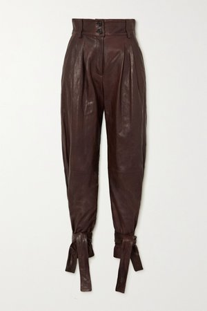 Brown Tie-detailed leather tapered pants | Dolce & Gabbana | NET-A-PORTER