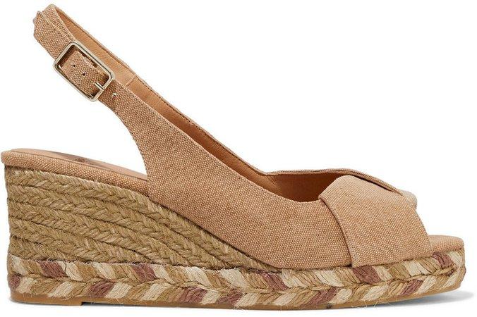 Brianda Twisted Cotton-canvas Espadrille Wedge Sandals