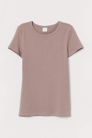 Ribbed Cotton T-shirt - Brown