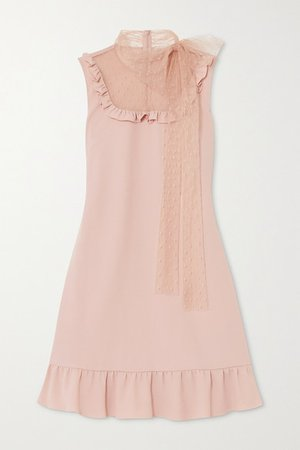 Ruffled Crepe And Point D'esprit Tulle Mini Dress - Blush