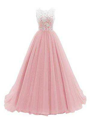 TDHQ Women's Long Prom Dress Tulle Evening Dance Bridesmadi Gown with – Tops-Dress