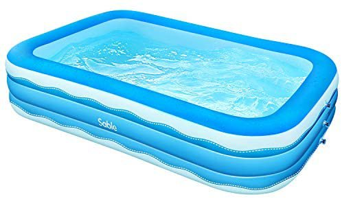 Amazon.com: Sable Inflatable Pool, 118 x 72.5 x 20in Rectangular Swimming Pool for Toddlers, Kids, Family, Above Ground, Backyard, Outdoor: Toys & Games