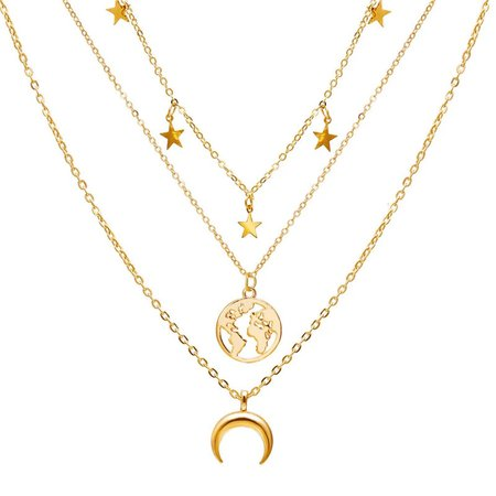 WUKALO Vintage Star Map Moon Necklace For Women Fashion Gold Color Necklace Multiple Layers Pendant Long Necklaces Boho Jewelry Pendant Necklaces  - AliExpress