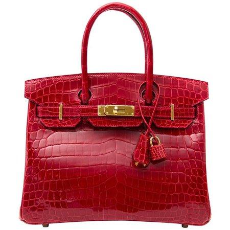 Hermès Birkin 30 Crocodile Niloticus Braise GHW Bag For Sale at 1stdibs