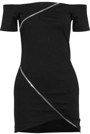 Off-the-shoulder Zip-detailed Cotton-blend Mini Dress