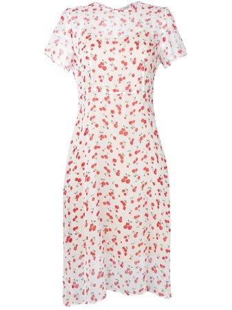 Hvn Cherry Print Midi Dress Ss19   Farfetch.com