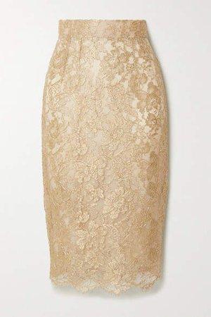 Metallic Lace Midi Skirt - Gold