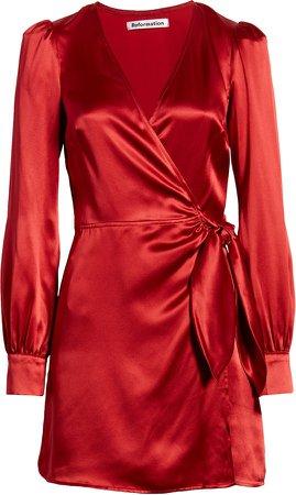 Kenna Silk Long Sleeve Wrap Minidress
