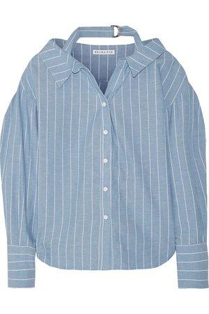 Rejina Pyo - Rosa pinstriped cotton and linen-blend shirt