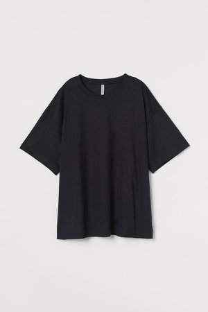 H&M+ Wide-cut Cotton T-shirt - Black