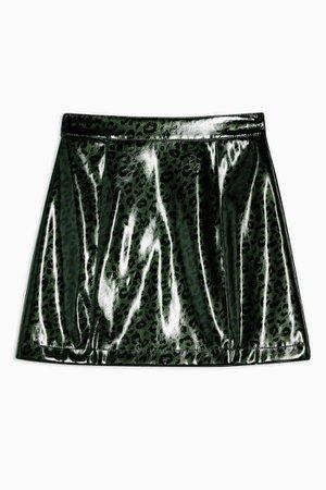 Green Leopard PU Mini Skirt   Topshop