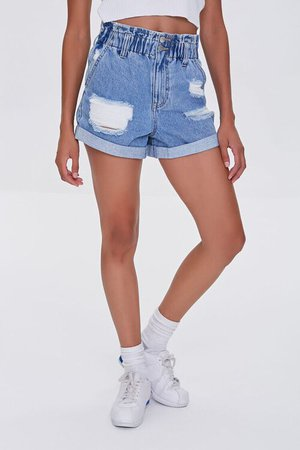 Distressed Denim Paperbag Shorts