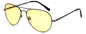 Calabria 1121 Night Driving Aviator Sunglasses with Yellow Tint - Designer Reading Glasses