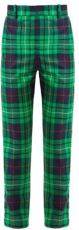 Charles Jeffrey Loverboy - Pammy Tartan Straight Leg Wool Trousers - Womens - Green Navy
