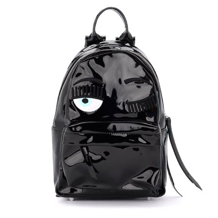 Chiara Ferragni Backpack In Black Paint Leather With Flirting Eyes