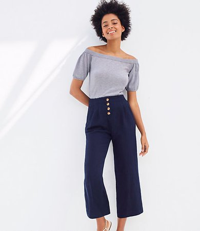Linen Blend Button Front Wide Leg Pants