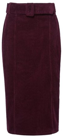**Tall Aubergine Corduroy Belted Midi Skirt